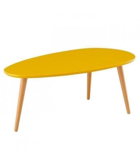 STONE Table basse ovale scandinave jaune moutarde laqué - L 88 x l 48 cm