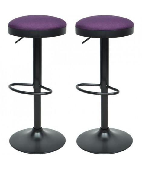 GASOLINE Lot de 2 tabourets de bar - Tissu violet - Classique - L 38,5 x P 38,5 cm