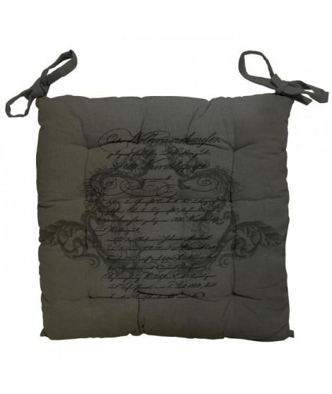 SOLEIL D'OCRE Galette de chaise capitonnée Médaillon en coton - Gris
